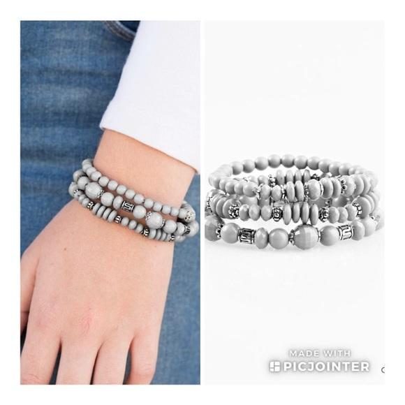 Paparazzi Jewelry Gray Stretch Bracelets Set Of 3 Poshmark